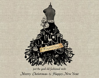 Old Fashioned Christmas Wish. Instant Download Digital Image No.397 Iron-On Transfer to Fabric (burlap, linen) Paper Prints (cards, tags)