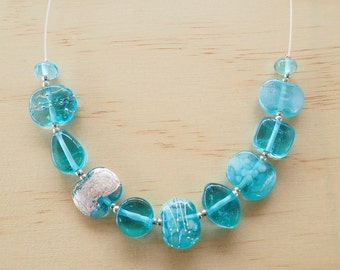 Bombay Sapphire Gin recycled glass bead necklace - assorted beads