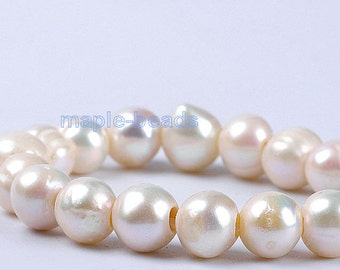 10pcs,  3mm Large hole , 9mm-10mm white ivory round Pearls-Genuine fresh water Pearl loose beads