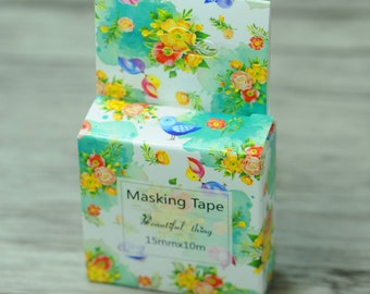 Washi Tape| Decorative Tape Wonderful Day Lovely Birds and Flowers Design