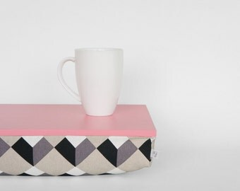 Breakfasts in bed tray or Laptop Lap Desk - caramel pink with monochrome graphic pattern pillow in black, white and grey