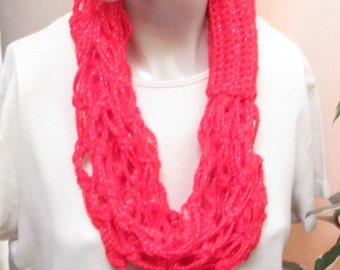 Clearance Sale, Cowl, Red Infinity Scarf, Red Cowl,  Love Knot Cowl, Gift for Her, Gift for Hostess, CS240