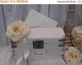 10% OFF SALE Slotted Wedding Card Box / Elegant Wedding Card Trunk / Antique Wedding Card Holder / Ivory Rose Wedding Card Trunk / Wedding D