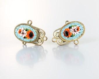 Micromosaic Floral Earrings, Micro mosaic Turquoise Flower Filigree Earrings, Multi color Glass Tiles Italian jewelry