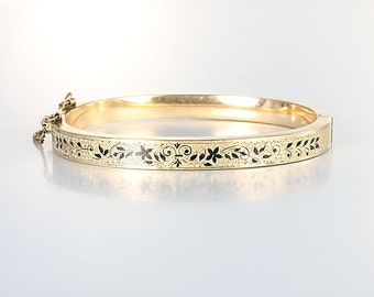 Taille D'Epargne Victorian Bracelet, Oval Gold Filled Hinged Small Antique Bangle, Black Enamel 6.5 inches