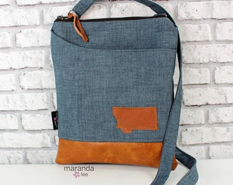 ZOE Messenger Cross Body Sling Bag - Blue Denim with Montana Patch - with Outside Pocket and PU Leather READY to SHIp