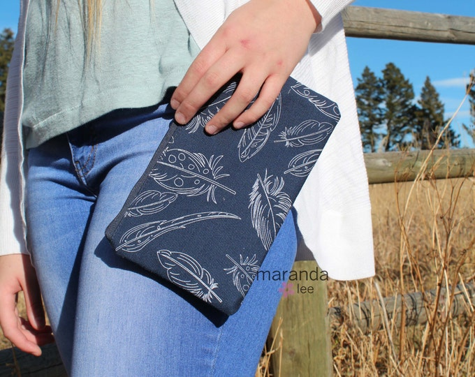 Zipper Pouch - Navy Feathers  READY to SHIP- Pencil Cell Phone Coin Purse  Bridesmaid Clutch Gift  Makeup Clutch