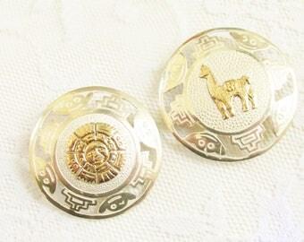 2 Vintage Sterling 18k Gold Peru Brooches Pendants Aztec Lama