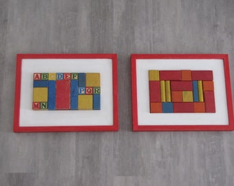 Vintage Baby Block Alphabet Wall Art  - set of two - ABC - 16 X 12 inches