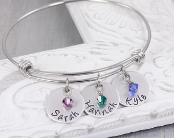Personalized Bangle Bracelet - Kids Name Bracelet with Birthstones - Personalized Name Jewelry - Mothers Day Gift - Gift for Mom