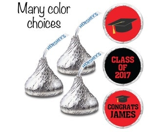 We Print - Includes Chocolate - Pre-Assembled Personalized Hershey's KISS Chocolate + Labels. Graduation kiss stickers + chocolate