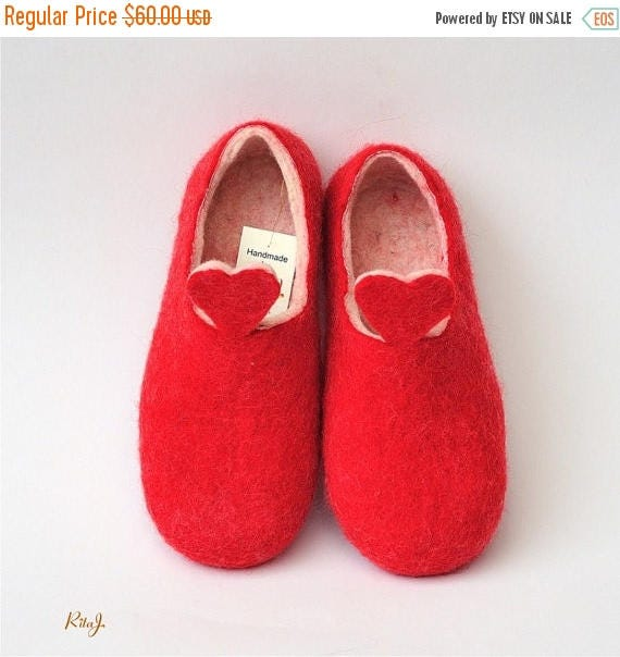 Spring Sale Red and white handmade felted slippers, HEART
