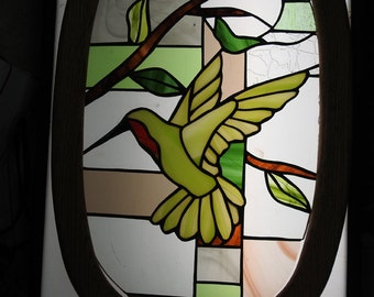 Stained Glass hummingbird abstract window suncatcher solid oak frame