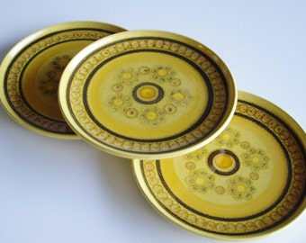 Vintage, Side Plates, Honeycomb Franciscan, Made in England, Mustard Yellow, Stoneware, Brown, Set of 3, Mid Century, Small Plates