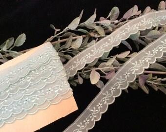 Vintage Scalloped Edge Sheer Light Aqua Blue Floral Embroidered Lace, Vintage Trim, Lingerie Lace, Sewing Supplies, Vintage Craft Supplies