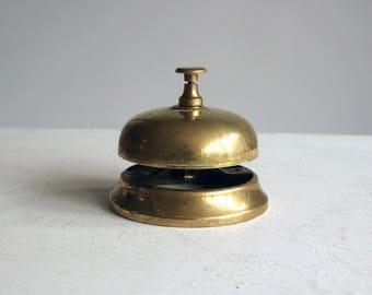 vintage brass reception bell, hotel lobby bell, countertop bell