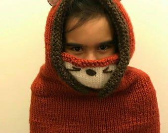 Knitted Fox Cowl Hood