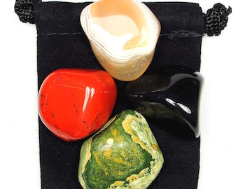 FACING CHALLENGE Tumbled Crystal Healing Set - 4 Gemstones w/Description & Pouch - Agate, Jasper, Onyx, and Rhyolite