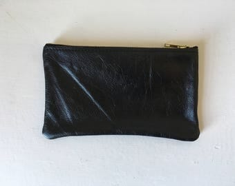 Leather Pouch - Repurposed Distressed Black Leather with Zipper