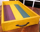 Wooden Serving Tray with Handles - Rustic Home Decor - Handmade Decorative Tray-Rustic Yellow