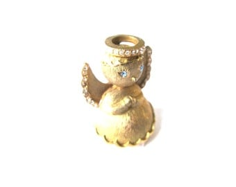 Brooch Rhinestone Gold Plate 3D Angel Ultra
