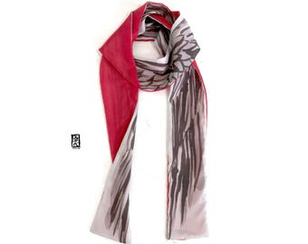 Wing Scarf, Red, Gray Skinny Scarf, Gray Long Scarf, Spring Scarf Handpainted Reversible, Etsy, Takuyo, 4.5x70 inch