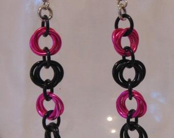 Pink and Black Mobius Earrings