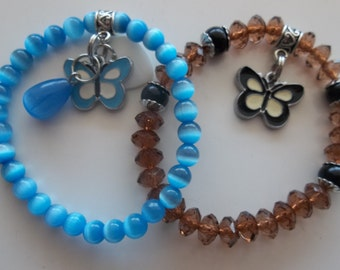 Blue Cats Eye Teardrop Charm - All Cats Eye-Plus Brown Coffee with Butterfly-Set-Beaded Stretch Bracelet  (181)
