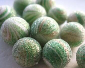 Vintage Green Stripe Sugar Beads E242