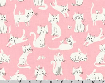 Whiskers & Tails - Cats Birds Pink by Sea Urchin Studio from Robert Kaufman