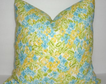 INVENTORY REDUCTION Dena Design Floral Facade Flower Print Pillow Cover Blue Green Coral Decorative Throw Pillow Covers 18x18