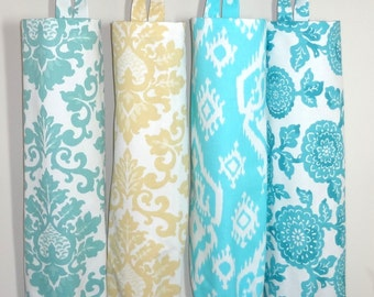 Plastic Bag Holder Grocery Bag Storage Kitchen Bag Storage Blue Mums Saffron Aqua Blue Ikat  Storage Bag Holder