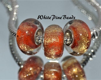 Red Gold Dust Glass Bead .925 Silver Fits European Style Charm Bracelets