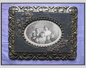 Antique Victorian Photograph Family Portrait; Instant Ancestors; Antique Ornate, Heavy Wood & Gesso Bronze and Black Framed 10 x 7-3/4 x 1/2