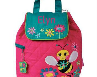 Personalized Toddler Backpack Quilted Bee in Pink