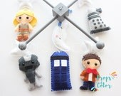 Baby Mobile, Dr Who Mobile, Time Machine Eleventh Doctor Crib Mobile, Tardis, Cybermen, Dalek, Science Fiction Geek Nursery Decor