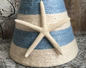 Sky Blue and White Striped Jute Wrapped Chandelier Lampshade Custom order only