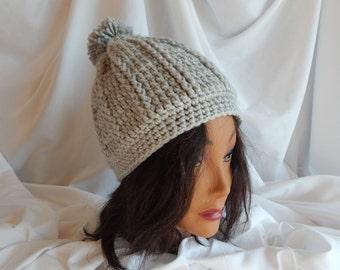 Crochet Pom Pom Hat Beanie - Light Gray - Woman's Fashion Hat