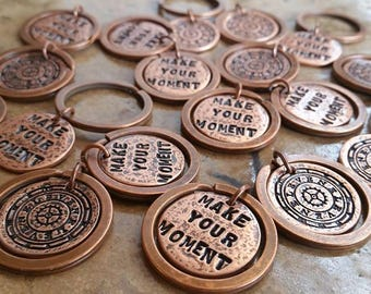 25 + CUSTOM STaMPeD and CaST KeY RiNGS | GROUP GiFT | Wedding Party | Retreat Gift | Commemorative Keepsakes |  KEYRING