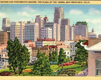 San Francisco, California, Skyscrapers, Portsmouth Square, Plaza of the 49ers - Vintage Postcard - Postcard - Unused (UUU)
