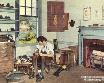 Williamsburg, Virginia, Boot en schoenmaker Shop - Vintage briefkaart - linnen briefkaart - ongebruikte (LLL)