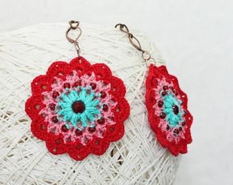 Hippie earrings Boho chic Flower jewelry Red turquoise Handmade crochet earrings Gypsy beaded dangle Bold chunky Summer festival fashion