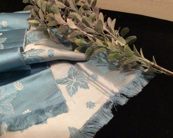 Vintage Light Aqua Blue and White Rayon Jacquard Scarf, Vintage Accessory