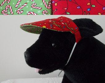 Dog visor, Christmas, reversible (two fabrics), comfortable and colorful. V13