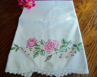 Pink Roses Pillowcase Single White Vintage Pillow Slip Crochet Trim Vintage Bed Linens