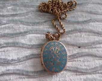 Vintage Victorian Blue Enamel Photo Locket Necklace  - Gorgeous
