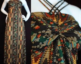 70s nylon ethnic pattern maxi cross strap dress hippie disco Joy Stevens