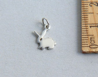 Baby Rabbit Charm, Bunny Charm, Sterling Silver Cat charm, Rabbit Charm, Tiny Bunny Charm, Animal Charm, Baby Rubbit, 8 x 12mm ( 1 piece )