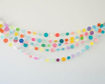 Rainbow Circle Garland, Rainbow Circle Bunting, Paper Circles, Circle Garland, Party Decor, Photo Prop Paper Garland, Paper Decoration