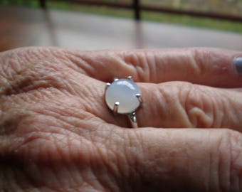 Lovely 10mm round Moonstone cabochon gemstone set in 14K white gold ring setting solitaire stackable ring